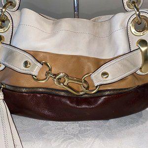 B. Makowsky Color Block Leather Satchel Tote